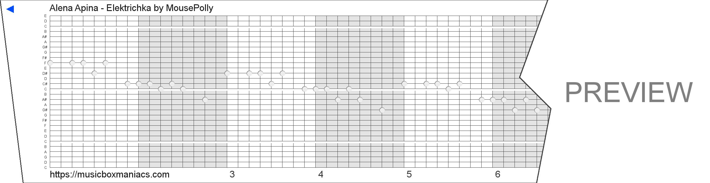 Alena Apina - Elektrichka 30 note music box paper strip