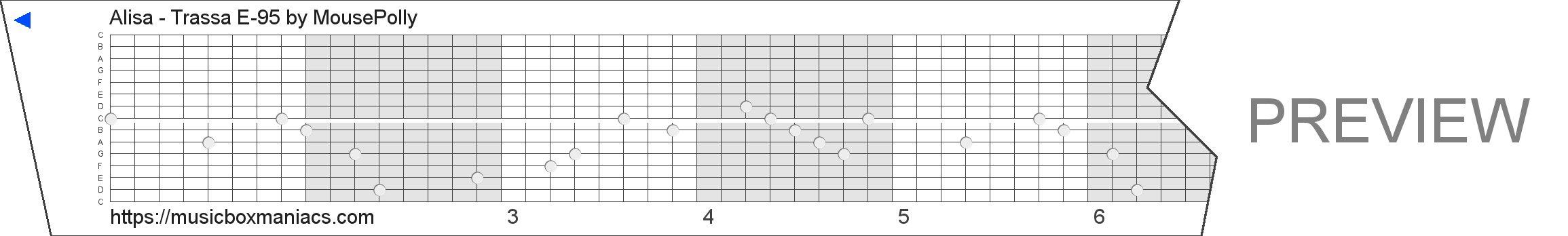 Alisa - Trassa E-95 15 note music box paper strip