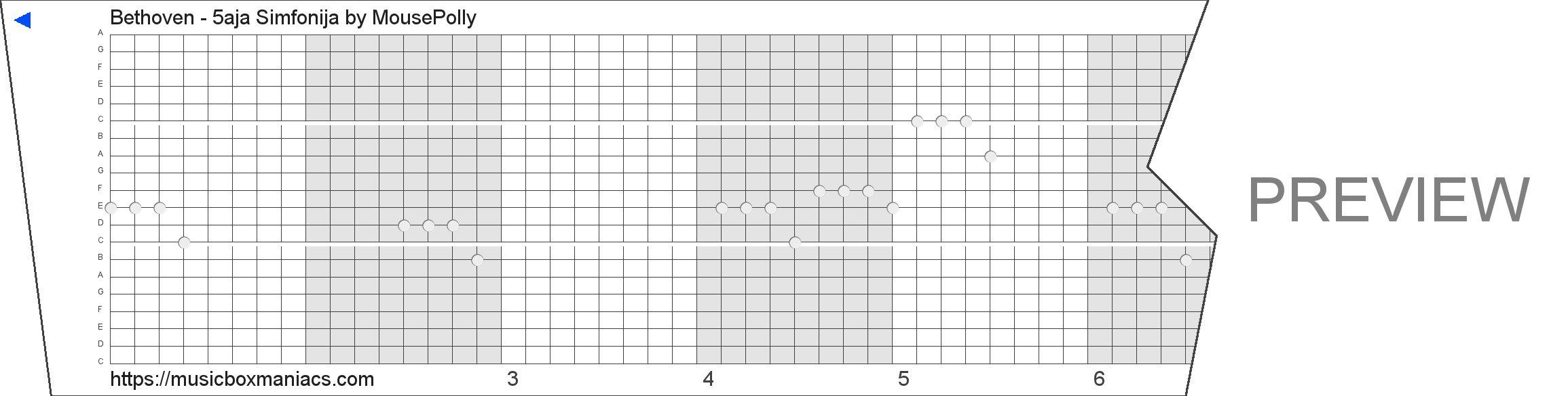 Bethoven - 5aja Simfonija 20 note music box paper strip