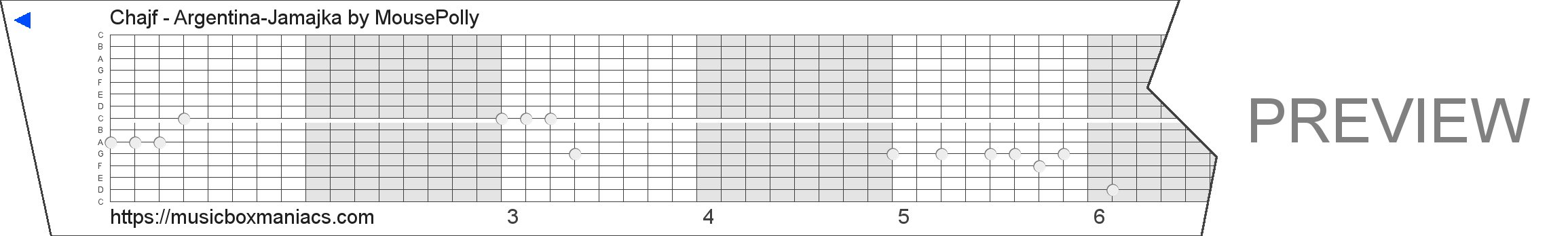 Chajf - Argentina-Jamajka 15 note music box paper strip