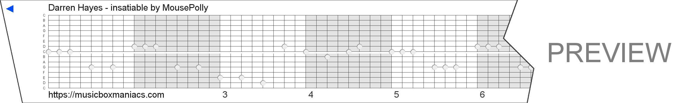 Darren Hayes - insatiable 15 note music box paper strip
