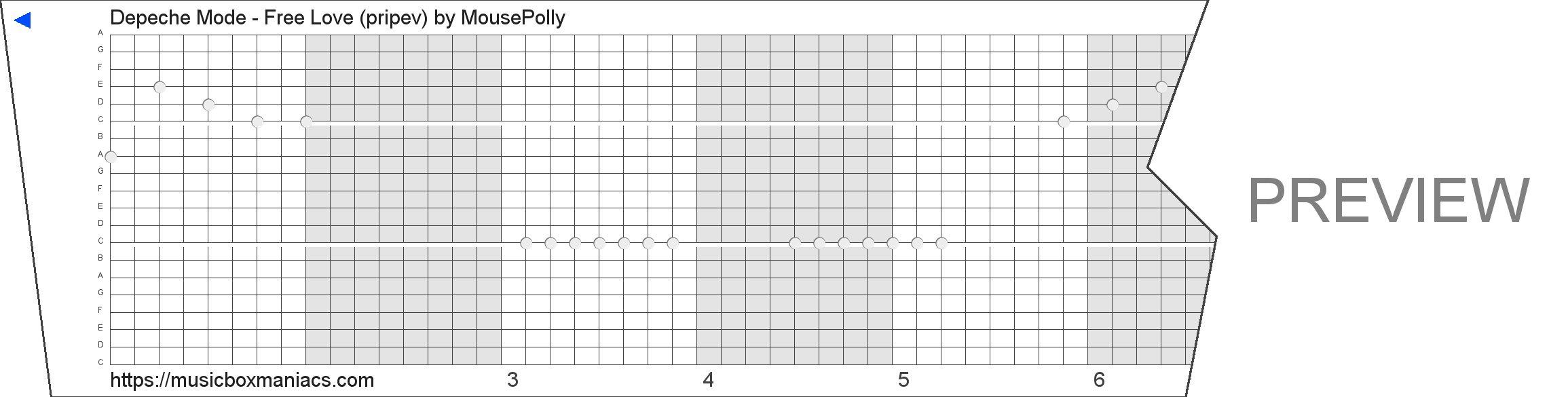 Depeche Mode - Free Love (pripev) 20 note music box paper strip