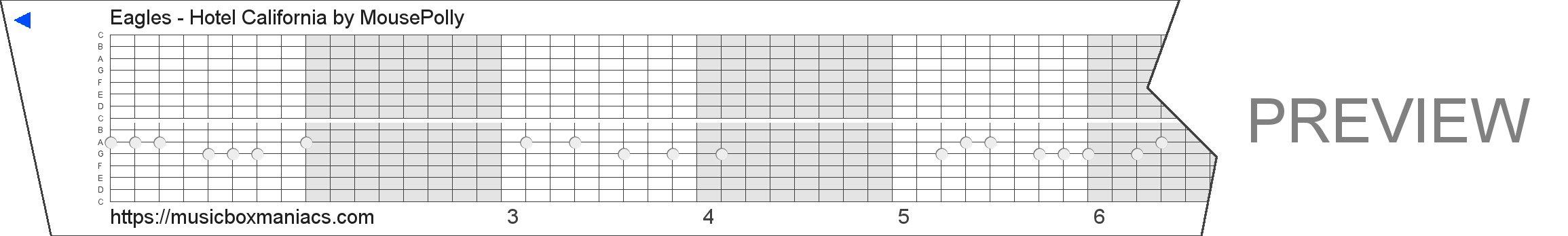 Eagles - Hotel California 15 note music box paper strip
