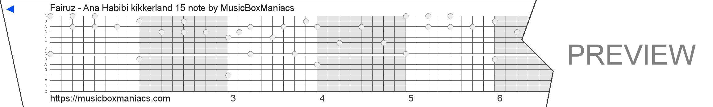 Fairuz - Ana Habibi kikkerland 15 note 15 note music box paper strip