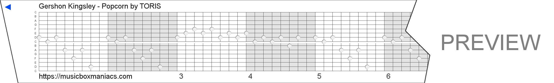 Gershon Kingsley - Popcorn 15 note music box paper strip