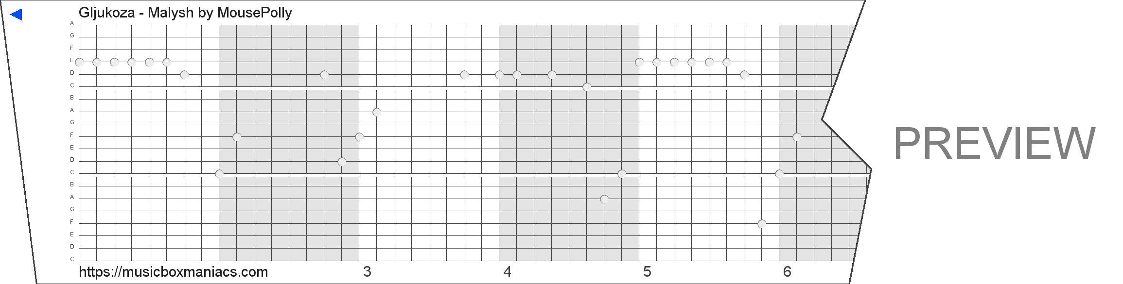 Gljukoza - Malysh 20 note music box paper strip