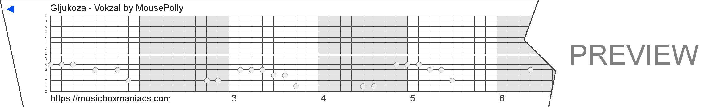 Gljukoza - Vokzal 15 note music box paper strip