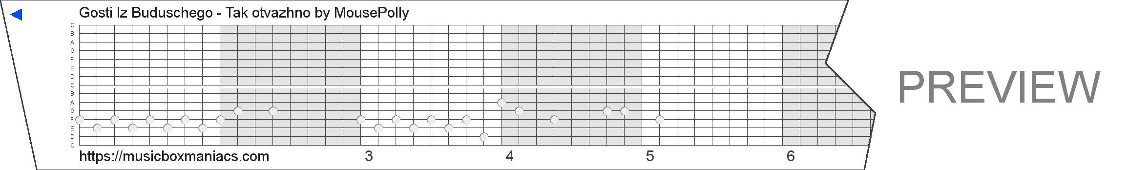 Gosti Iz Buduschego - Tak otvazhno 15 note music box paper strip