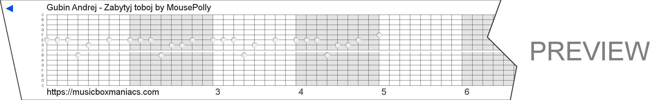 Gubin Andrej - Zabytyj toboj 15 note music box paper strip