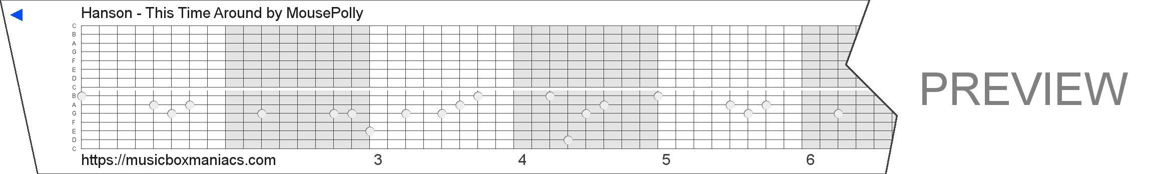 Hanson - This Time Around 15 note music box paper strip