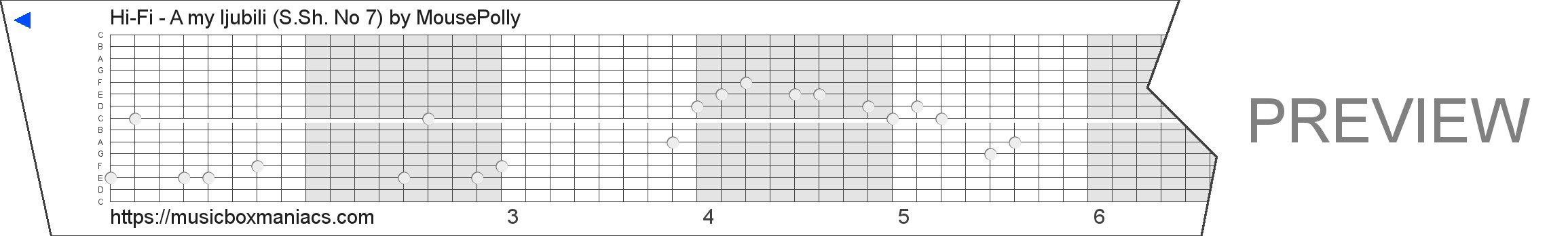 Hi-Fi - A my ljubili (S.Sh. № 7) 15 note music box paper strip