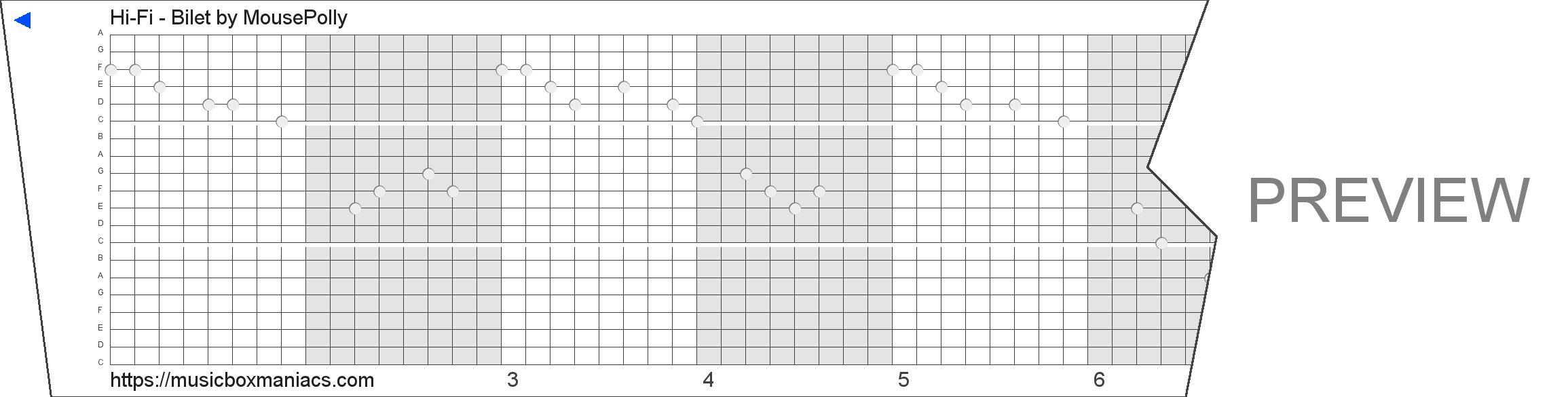 Hi-Fi - Bilet 20 note music box paper strip