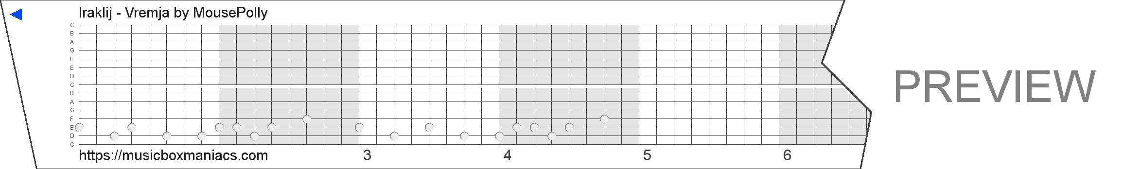 Iraklij - Vremja 15 note music box paper strip