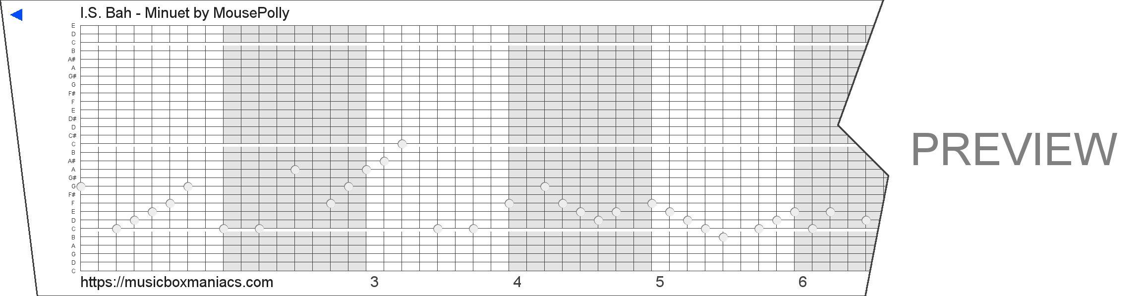 I.S. Bah - Minuet 30 note music box paper strip