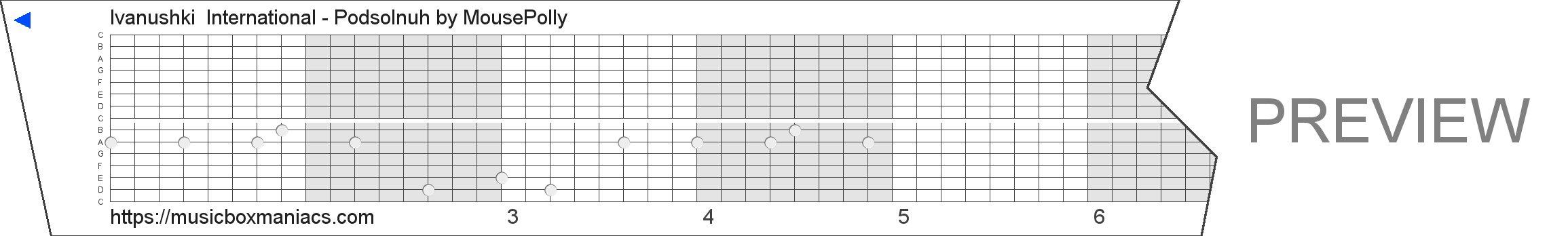 Ivanushki  International - Podsolnuh 15 note music box paper strip