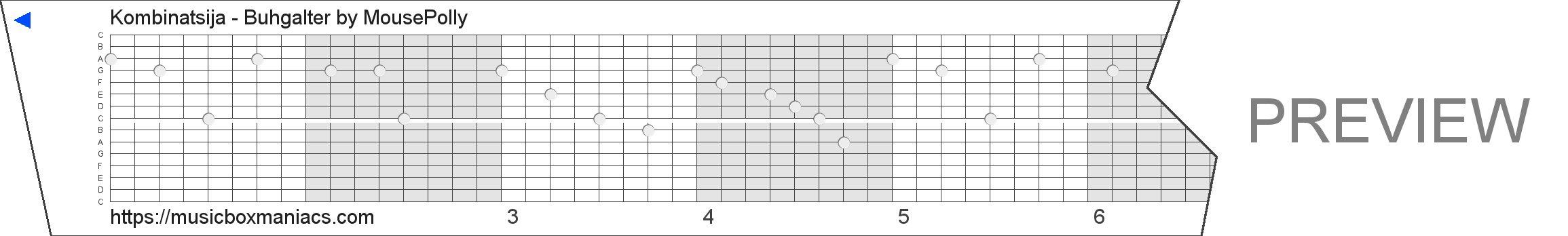 Kombinatsija - Buhgalter 15 note music box paper strip