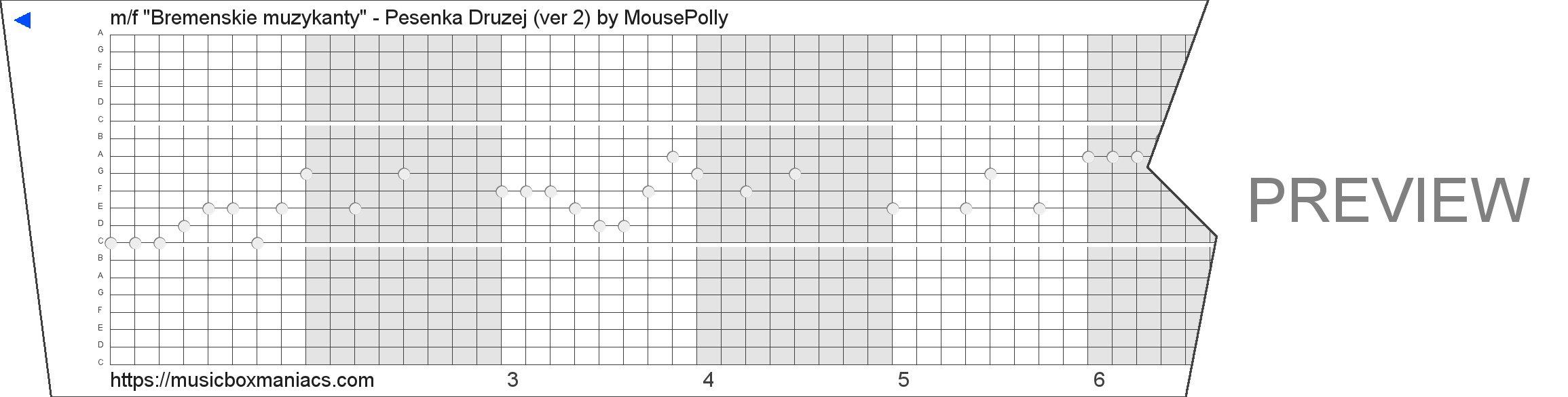 "m/f ""Bremenskie muzykanty"" - Pesenka Druzej (ver 2) 20 note music box paper strip"