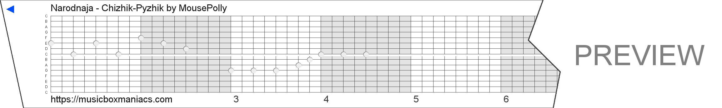 Narodnaja - Chizhik-Pyzhik 15 note music box paper strip