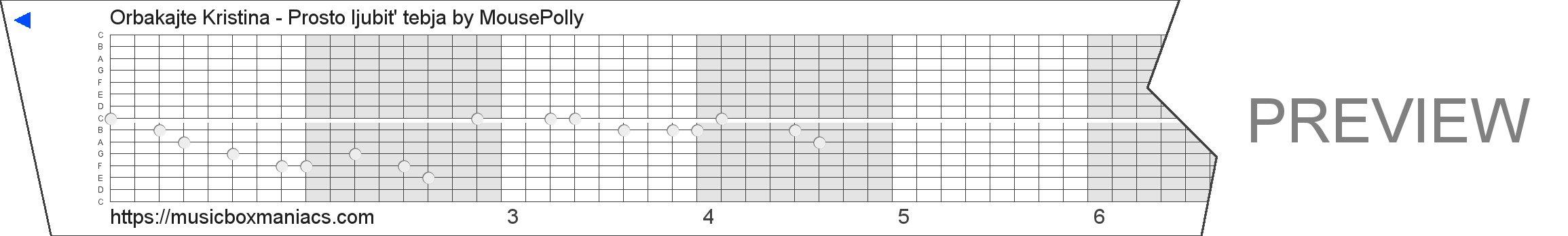 Orbakajte Kristina - Prosto ljubit' tebja 15 note music box paper strip