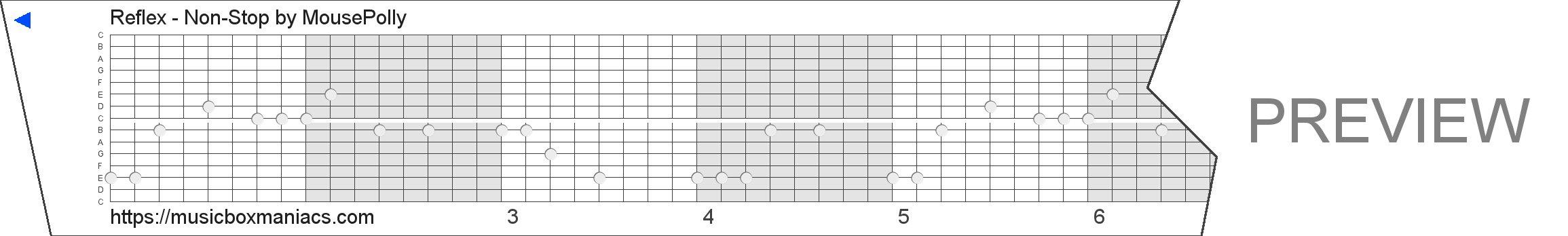 Reflex - Non-Stop 15 note music box paper strip