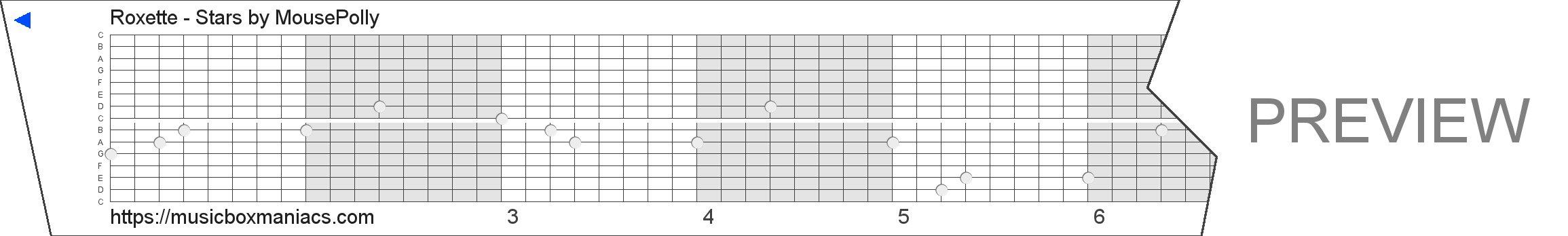 Roxette - Stars 15 note music box paper strip