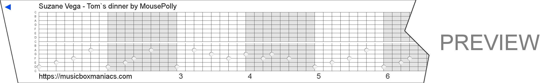 Suzane Vega - Tom`s dinner 15 note music box paper strip