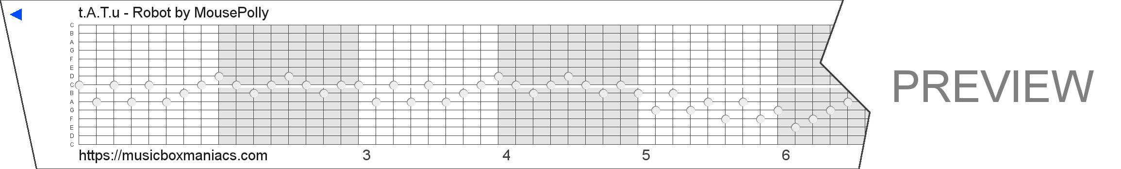 t.A.T.u - Robot 15 note music box paper strip