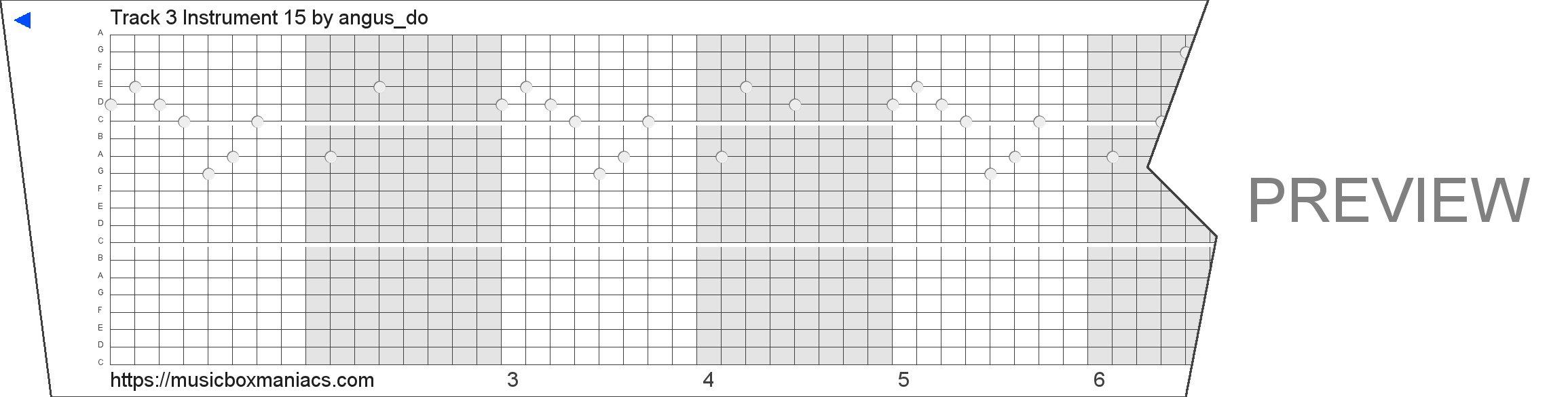 Track 3 Instrument 15 20 note music box paper strip