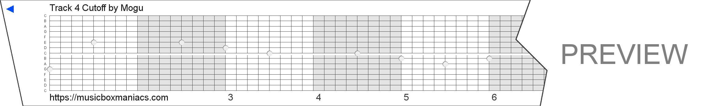 Track 4 Cutoff 15 note music box paper strip