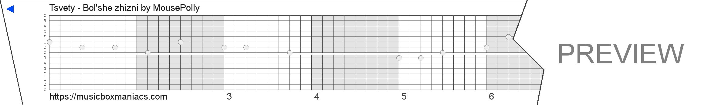 Tsvety - Bol'she zhizni 15 note music box paper strip