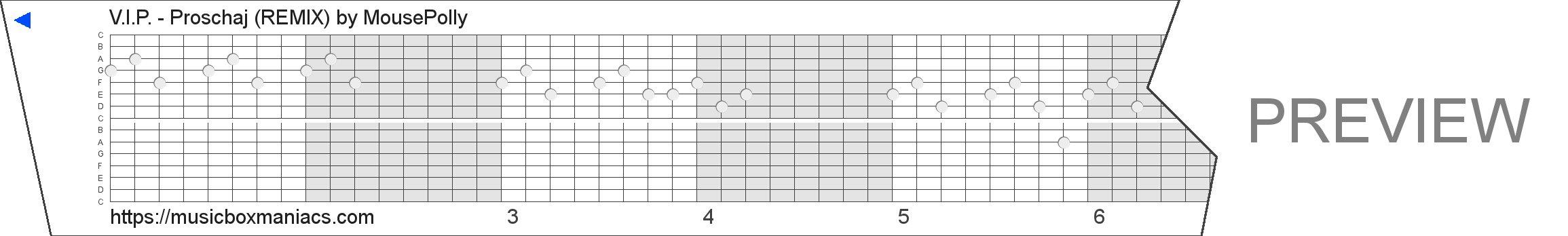 V.I.P. - Proschaj (REMIX) 15 note music box paper strip