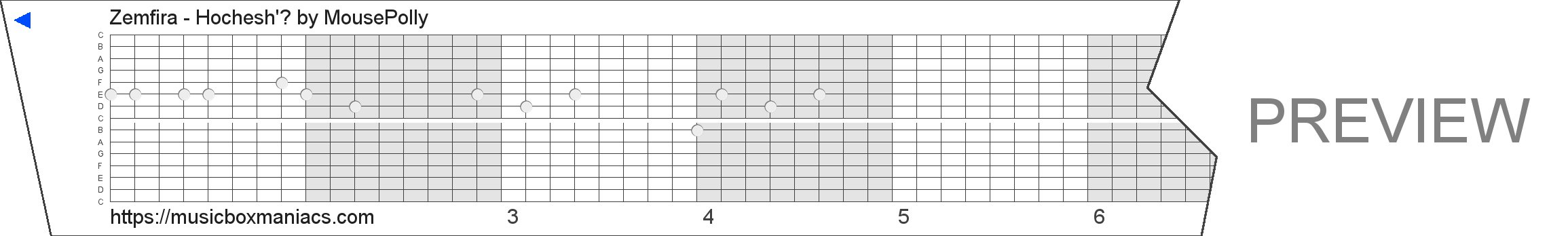 Zemfira - Hochesh'? 15 note music box paper strip