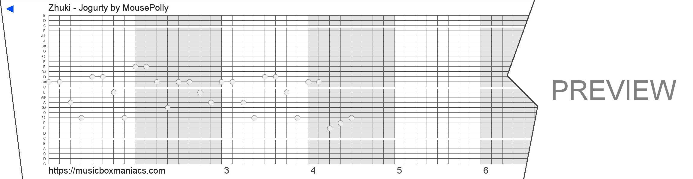 Zhuki - Jogurty 30 note music box paper strip