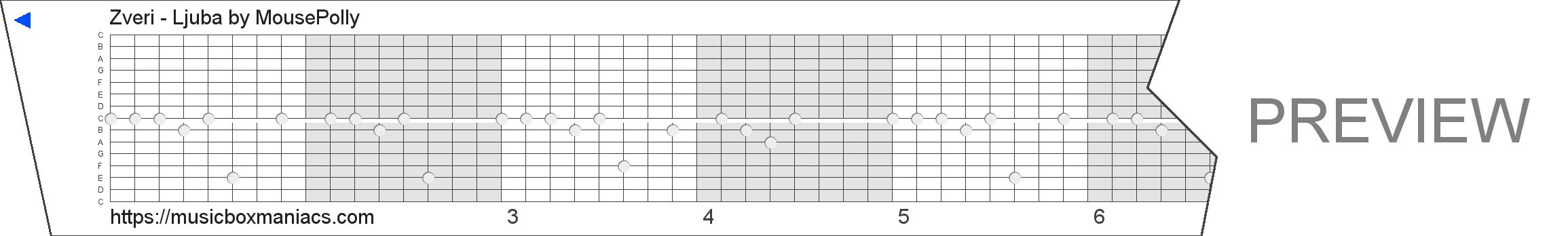 Zveri - Ljuba 15 note music box paper strip