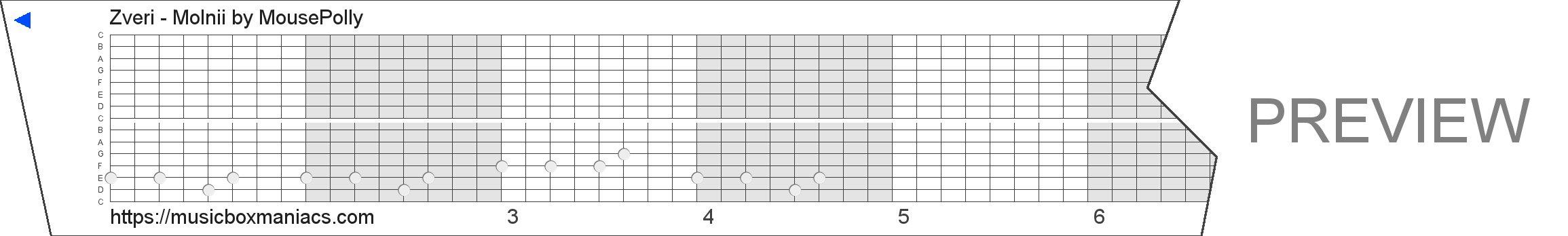 Zveri - Molnii 15 note music box paper strip