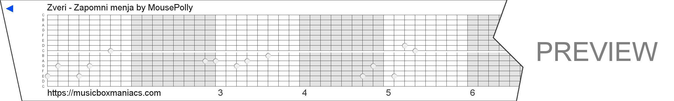Zveri - Zapomni menja 15 note music box paper strip