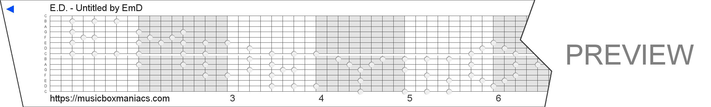 E.D. - Untitled 15 note music box paper strip
