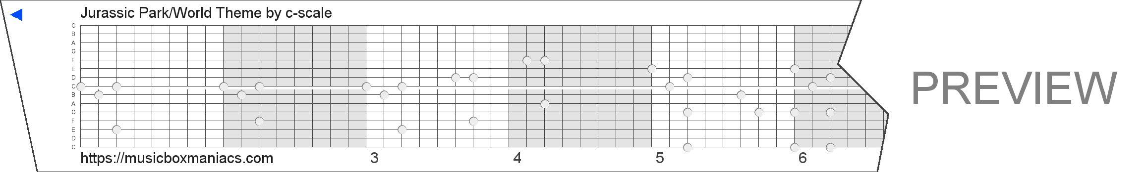 Jurassic Park/World Theme 15 note music box paper strip