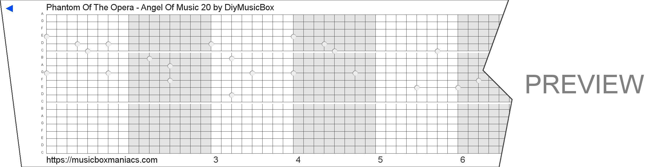 Phantom Of The Opera - Angel Of Music 20 20 note music box paper strip
