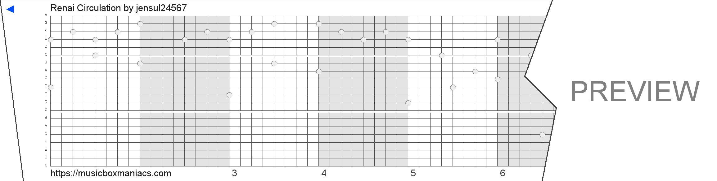 Renai Circulation 20 note music box paper strip