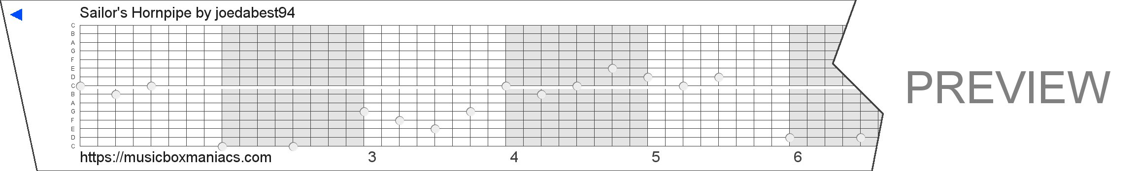 Sailor's Hornpipe 15 note music box paper strip