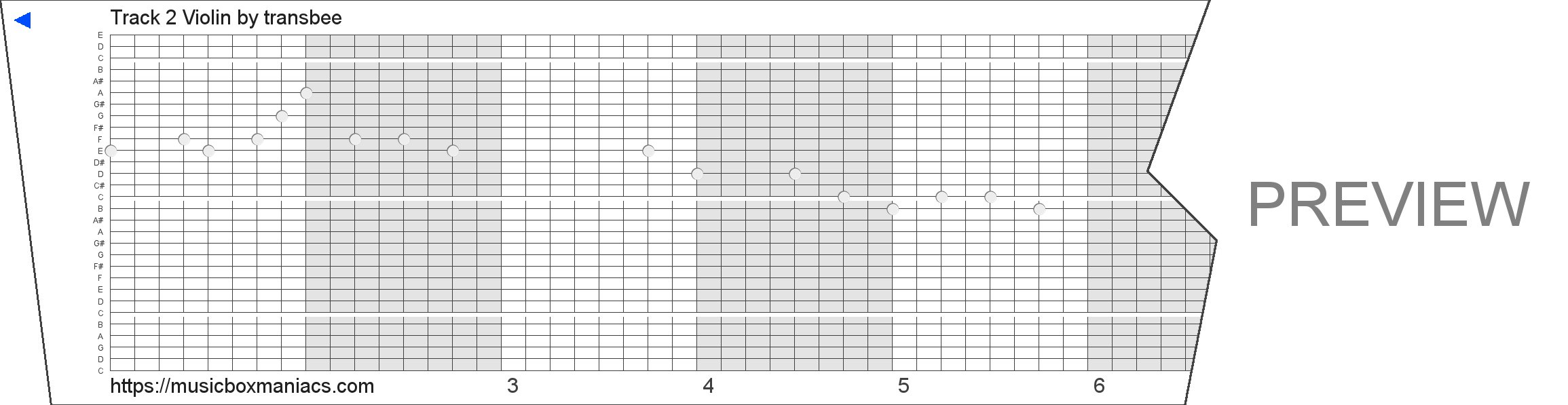 Track 2 Violin 30 note music box paper strip