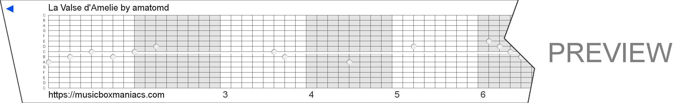 La Valse d'Amelie 15 note music box paper strip
