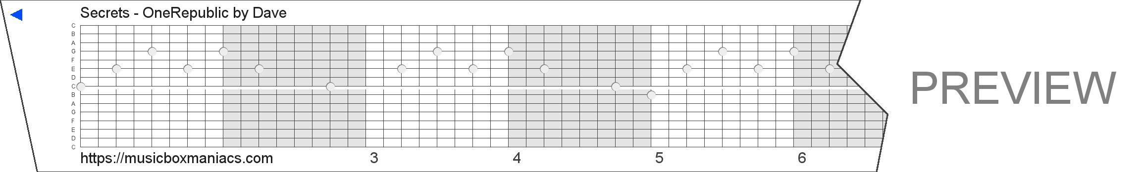 Secrets - OneRepublic 15 note music box paper strip