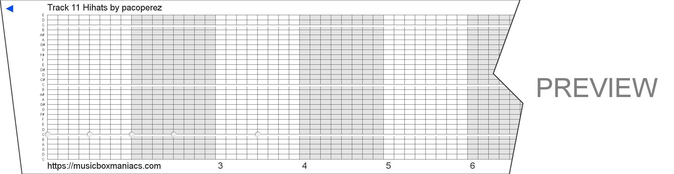 Track 11 Hihats 30 note music box paper strip