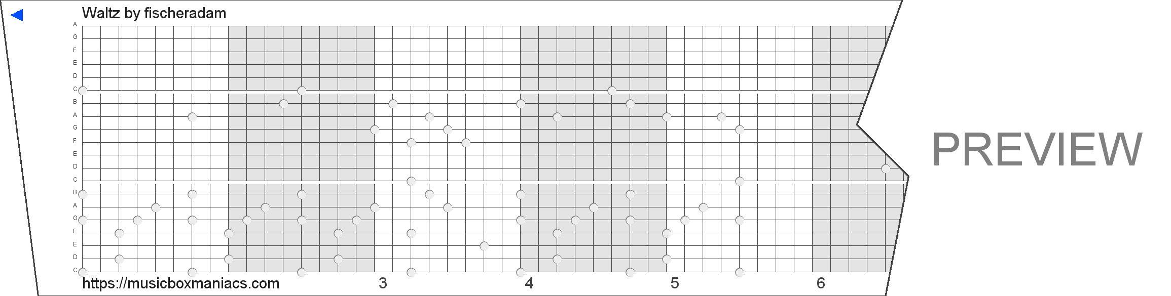 Waltz 20 note music box paper strip