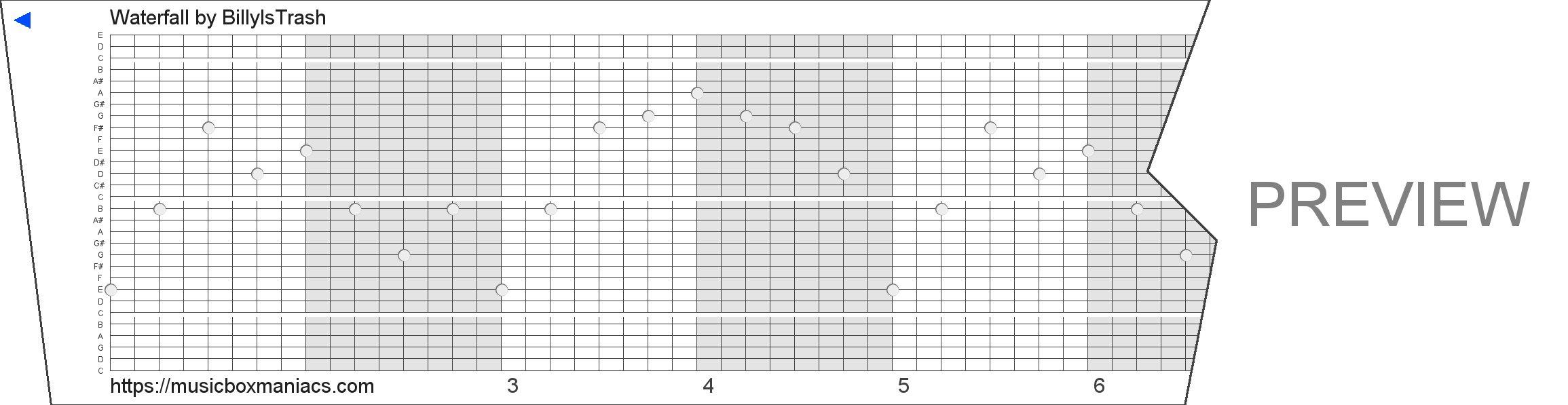 Waterfall 30 note music box paper strip