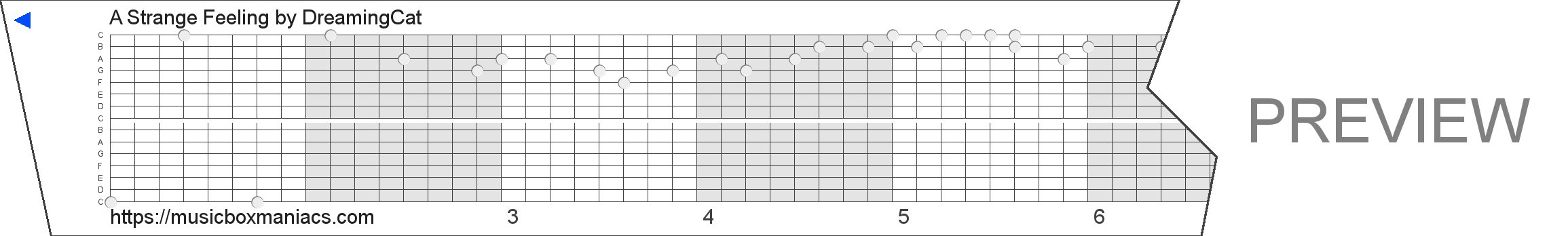 A Strange Feeling 15 note music box paper strip
