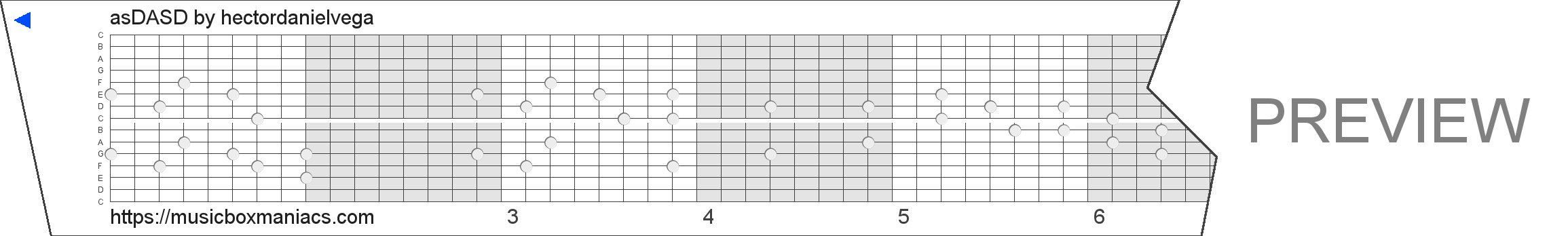 asDASD 15 note music box paper strip