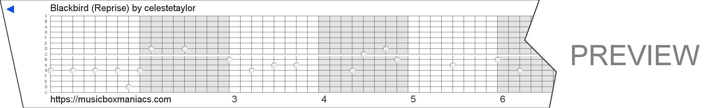 Blackbird (Reprise) 15 note music box paper strip